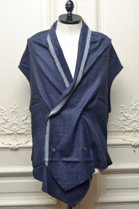 "Lucio Vanotti ""Plaid Check Double breasted Vest"" col.Navy"