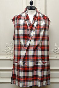 "Lucio Vanotti ""Plaid Check Double breasted Sleeveless Jacket"" col.Navy Base"