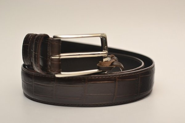 "画像1: Felisi "" 85/07-SA Leather Belt - Embossed Crocodile "" col.DARK BROWN"