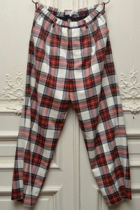 "Lucio Vanotti "" Plaid Check Wide Easy Trousers "" col.Navy Base"