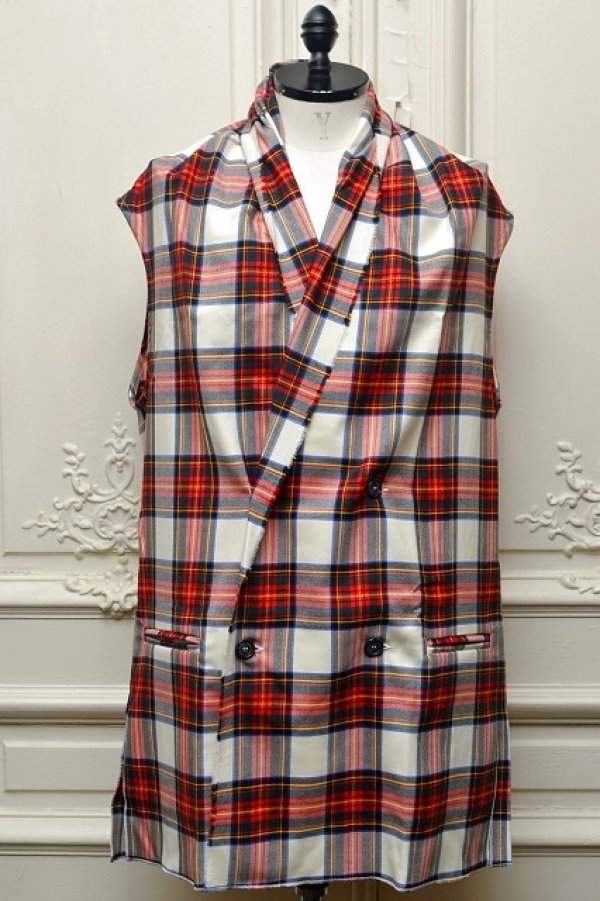 "画像1: Lucio Vanotti "" Plaid Check Double breasted Sleeveless Jacket "" col.Navy Base"