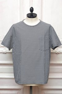 "MITMOS MITMOR "" cool max seersucker gingham T-shirts "" col.WHITE/BLACK"