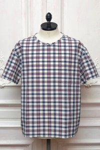 "MITMOS MITMOR  "" cool max seersucker check T-shirts "" col.NAVY/RED/WHITE"