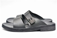 "m.a+ "" TOP STRAP LEATHER SANDAL "" col.BLACK"
