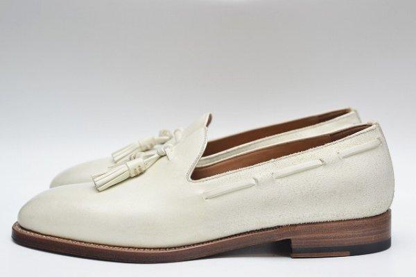 """画像1: F.lli Giacometti """" Suede Leather Tassel Loafer : Cordvan Toe """" col.Bianco"""
