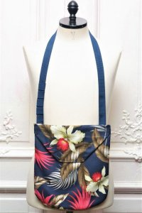 "Engineered Garments "" Shoulder Pouch - Hawaiian Floral Java Cloth "" col.Navy"