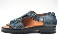 """F.lli Giacometti """" Double Monk Sandalo - Pitone Leather """" col.AZZURRO"""