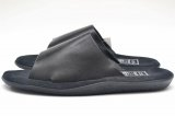 "Island Slipper "" Leather Slipper - combi "" col.Black"