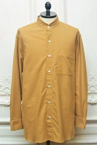 "Cristaseya x Salvatore Piccolo "" Handmade Flannel Mao Shirt With Fringed Collar "" col.Camel"