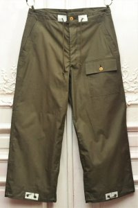 "TUKI "" over pants - Cotton double gabardine "" col.olive drab(04)"