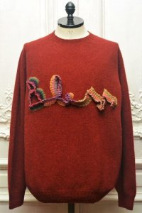 "BLESS N゜68 "" BLESSlogoknit "" col.dirty red2, multirainbowcolors"