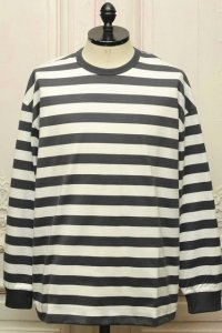 "Graphpaper "" Border L/S Tee "" col.WHT × C.GRY"