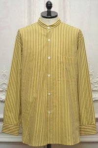 "Cristaseya  "" Striped Cotton  Mao Shirt "" col.Yellow Brown Stripes"