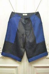 """amachi. """" Panel Denim Shorts  """" col.D.Gray×Blue"""