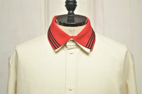 "画像2: CAMIEL FORTGENS "" RESEARCH EXTENDED SLEEVE Shirts - CANVAS/JERSEY ""  col.OFF WHITE/RED"