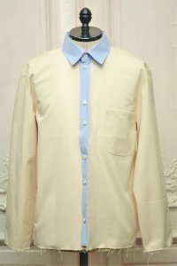 "CAMIEL FORTGENS "" RESEARCH SHIRTS JACKET - CANVAS/COTTON ""  col.OFF WHITE/BLUE WHITE STRIPE"