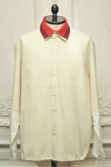 """CAMIEL FORTGENS """" RESEARCH EXTENDED SLEEVE Shirts - CANVAS/JERSEY """"  col.OFF WHITE/RED"""