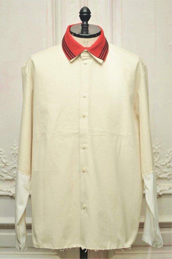 "画像1: CAMIEL FORTGENS "" RESEARCH EXTENDED SLEEVE Shirts - CANVAS/JERSEY ""  col.OFF WHITE/RED"