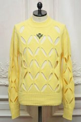 """STEFAN COOKE """" Diamond Slashed Jumper With Floral Embroidery""""  col.Yellow"""