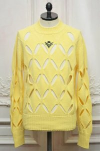 "STEFAN COOKE "" Diamond Slashed Jumper With Floral Embroidery""  col.Yellow"