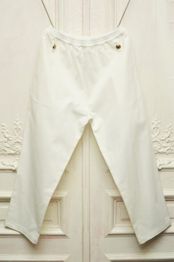 """画像1: STEFAN COOKE """" Trousers With Elastic Waist and Brass Boutton""""  col. White"""