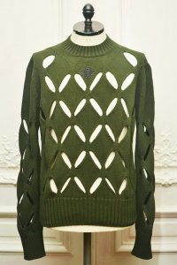 "STEFAN COOKE "" Diamond Slashed Jumper With Floral Embroidery""  col.Green"