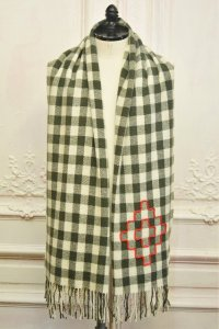 """CASEY CASEY """" Scarf with Embroidery """" col.Green"""