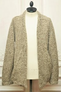 """TENDER CO. """" Purl Edge Folded Front Cardigan - Wool Donegal  """"  col.Plane"""