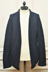 """TENDER CO. """" Purl Edge Folded Front Cardigan - Wool Donegal  """"  col.Navy"""