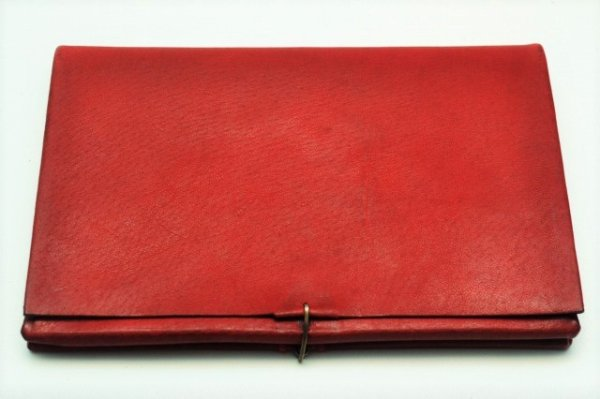 "画像1: m.a+ "" EXTRA LARGE WALLET WITH HOOK "" col.PIG LEATHER HIGH RISK RED"